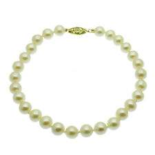 9ct Gold Pearl Bracelet 6mm AAA Round White Pearls Yellow Gold Clasp