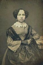 EXCEPTIONAL DAGUERREOTYPE -  attractive young lady in full floral leather case