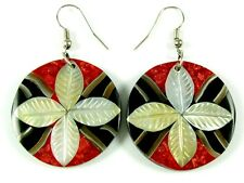 RED CORAL, MOTHER-OF-PEARL, CONE SHELL earrings ;DA098-A