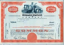 Howard Johnson Company Stock Certificate