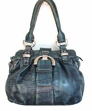 AUTH B.MAKOWSKY CROCO DUSTY BLUE GENUINE LEATHER TOTE SHOULDER BAG HANDBAG PURSE