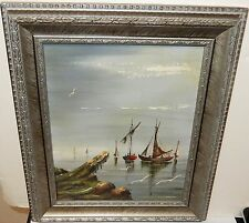 MIGUEL ANGEL GOMEZ (MONTANOLA) FISHING BOATS ORIGINAL OIL ON BOARD PAINTING