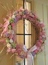 Luxury Easter Door Wreath Hanging Decoration With Speckled Eggs Flowers 45cm