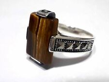 Turkish Ottoman Tiger's Eye Gemstone  Marcasite 925 Sterling Silver Men Ring