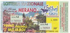 Biglietto lotteria Merano del 1995