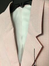 Alan Flusser MENS Jacket Blazer Sport Coat Pink White Seersucker Cotton NEW 44L