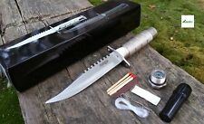 "8.5"" Hunting Knife Silver Rambo Combat Survival Fixed Blade Compass Set"
