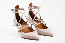 "Valentino NIB $995 Beige ""Poudre"" Patent Leather Caged ""Love Latch"" Pumps SZ 40"