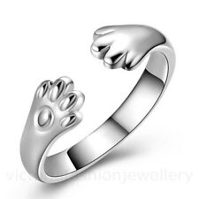 PAWS RING in Sterling Silver Plate. Adjustable Thumb Wrap Dog Cat Pet Animal Paw