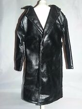 """TONNER DOLL MALE FAUX BLACK LEATHER JACKET TRENCH COAT FITS 17"""""""