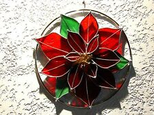 Large Handcrafted Christmas Poinsettia Stained Glass Wreath/ Suncatcher
