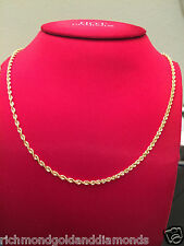 Mens Womens 14k Yellow Gold Necklace Solid Diamond Cut Rope Chain 2mm 22inch