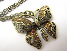 Vintage Look Pretty Bronze Plated Rhinestone Encrusted Butterfly Necklace New