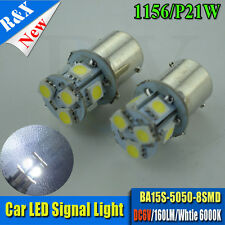 1XBA15S P21W/1156 5050 8SMD LED Car Tail Signal Light Lamp Cold White 6000K DC6V
