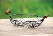 French Wire Small Flat Oval Basket