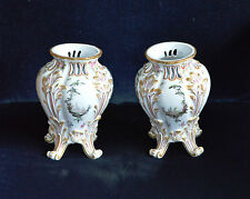 Antique Hochst German / Austrian Hard Paste Handpainted Vases Pair of A/F