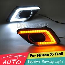 DRL LED DAYTIME RUNNING LIGHT FOG LAMP FOR NISSAN X-TRAIL 2014+ WITH TURN SIGNAL