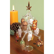 Mini Christmas Tree with 12 Woodland Glass Ornaments - Squirrel Rabbit Owl More