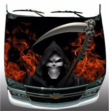 Grim reaper flame fire Hood Wrap Wraps Sticker Vinyl Decal Graphic