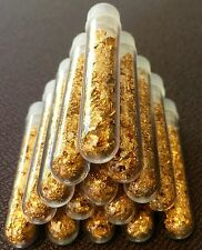 9 Large 3ml Vials.. Filled Full of Gold Leaf Flakes .. Lowest price on Ebay !!
