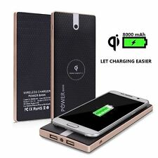 Qi Wireless Charger 8000mAh Power bank for Samsung Galaxy S7 S6 S5 Nexus BLACK