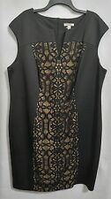 Dressbarn Woman Plus 22W Black Lace Inset Sleeveless Dress NWOT