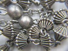 "† WWI ERA ANTIQUE STERLING RIDGED BICONED SCAPULAR SMALL ROSARY NECKLACE 23"" †"