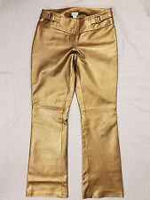 Cache Womens Size 2 100% Leather Pants Gold Bronze Lined D19