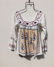 VINTAGE INDIAN GAUZE TOP..... Ethnic EMBROIDERED Hippie People PEASANT Free Ship