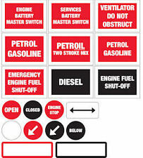 BOAT SAFETY LABELS, PETROL, PETROIL, DIESEL, BATTERY MASTER SWITCH, VENTILATION