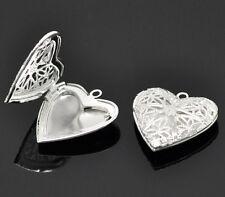 1x Medaillon Anhänger Fassung Herzform für 18,7x13,7mm Foto Neu Halskette Kupfer