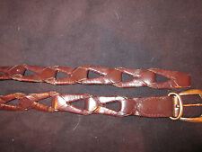Brown Leather Interlock Belt with Antique Finish Buckle / Size Large