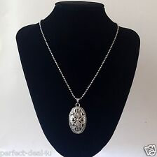 Tibetan Silver Pendant Necklace Oval Filigree Cross Flowers Charm