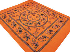 Bedroom Mandala Elephant Print Bed Sheet Cotton Bedding Orange Tapestry ~ Full