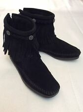 ╰ ✌ ╮Minnetonka High Top Ankle Fringe Boot - Black Suede Size 6 ╰ ✌ ╮