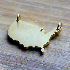 United States Map Charm 24K GOLD Plated Brushed StainlessSteel Connector Pendant