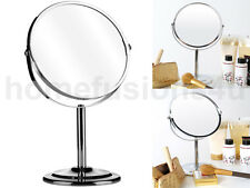 CHROME SHAVING MIRROR SWIVEL FREE STANDING COSMETIC MAGNIFYING BATHROOM 2 SIDED
