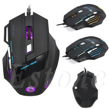 USB Wired Gaming Mouse 7 Buttons 5500DPI Resolution For Laptop PC Professional