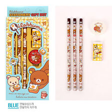 1set Rilakkuma Cartoon Stationery Set - Wooden Pencil Eraser Sharpener Ruler