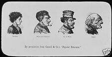 VICTORIAN Glass Magic Lantern Slide UNEDUCATED TYPES C1890 VICTORIANS