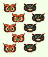 Halloween (10 COUNT) Vintage repo 1940 Beistle CAT & OWL Mini Party Decorations