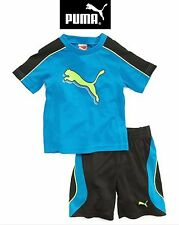 NWT SZ 24 MONTHS PUMA BOY'S 2 PC OUTFIT SET TOP/ SHORTS BLUE,BLACK,YELLOW 2T NEW