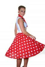 50's Style Ladies Women Polka Dot RockNRoll Poodle Skirt&Scarf Set