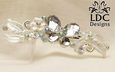 5 Colors ~ Silver Butterfly Crystal Gem Floral Flower French Clip Hair Barrette