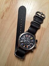 Genuine Leather Watch Band Strap 20mm BLACK Handmade 3 Rings Zulu Style - USA