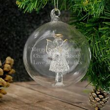 Personalised Engraved Glass Angel Bauble - Christmas, Remembrance, Family