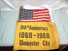 (6) Vintage 100th Anniversary 1868-1968 Glouster City Flags + 6 American Flags