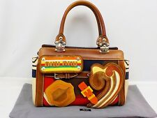 Auth Miu Miu Multi-color Design Hand bag Canvas & 4 removable emblems 6E310120N