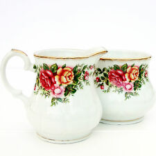 Vintage Jardín Inglés Porcelana China Country Roses Jarra de leche Sugar Bowl Set
