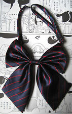 RED STRIPE KITTY BOW GEEK KAWAII JAPAN SCHOOL GIRL COSPLAY ALT PRE TIED BOW TIE